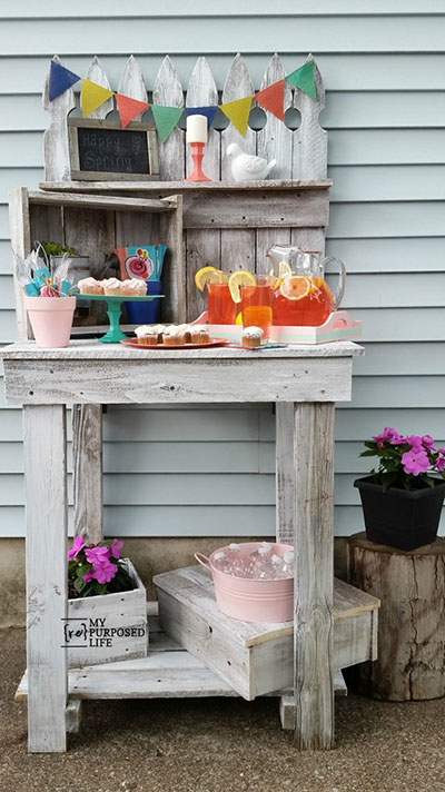 Perfect Picket Fence Potting Bench