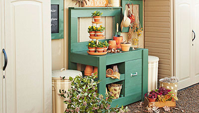 Perfect Potting Bench With Soil Storage Bin