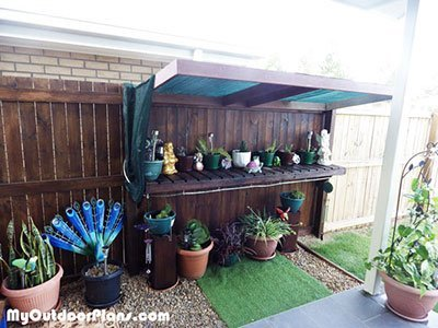 Shaded Garden Potting Bench