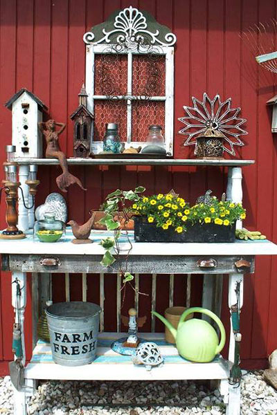 Upcycled Table Potting Bench
