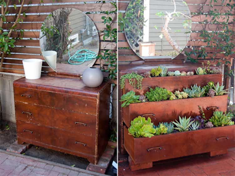 Repurposed Dresser Herb Garden