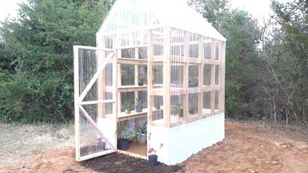 Corrugated Plastic & Wood Greenhouse