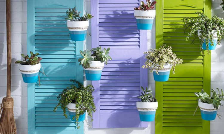 creatively repurposed shutter planters