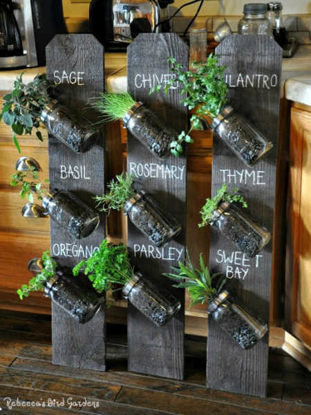 mason jar and fence board herb planter