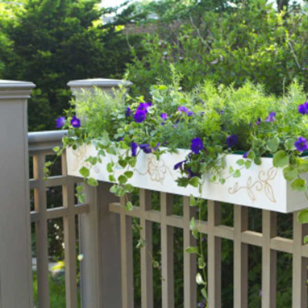stylish simple railing planter