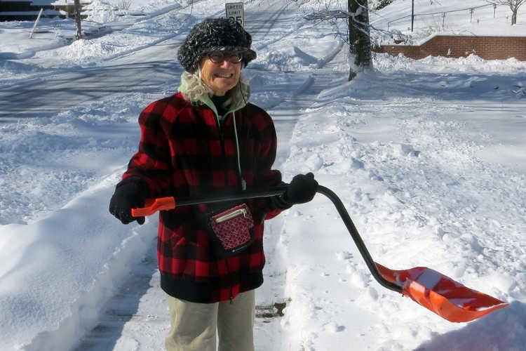 Ergonomic snow shovel