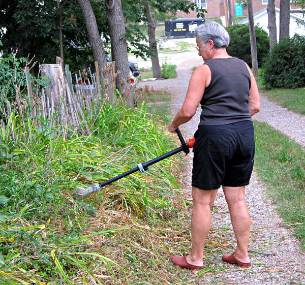 String trimmer in use