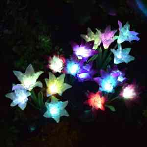 Doingart Outdoor Solar Garden Lily Stake Lights