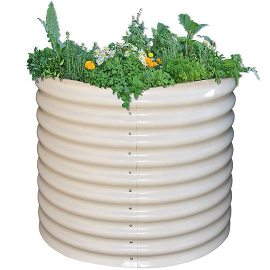 Tall round metal raised bed