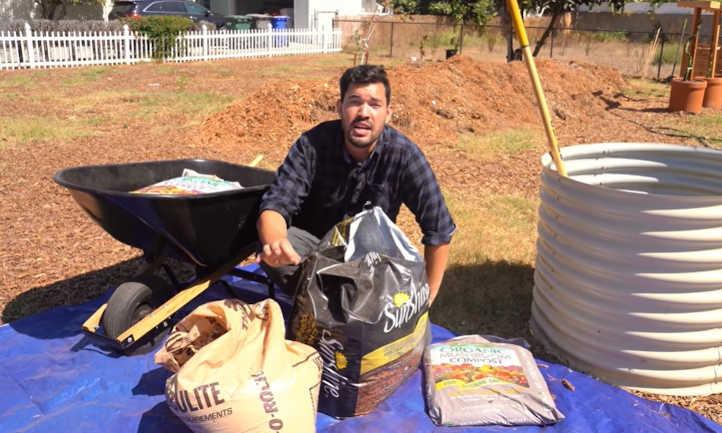 Kevin mixing soil
