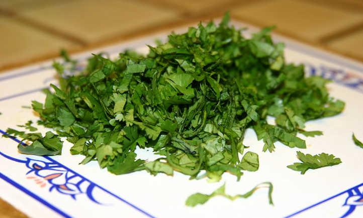 Chop cilantro before freezing